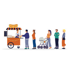 People queue street food cart with waiting in vector