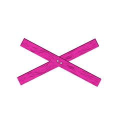 Pink wooden barrier in cross shape vector