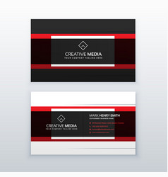professional red and black business card design vector image