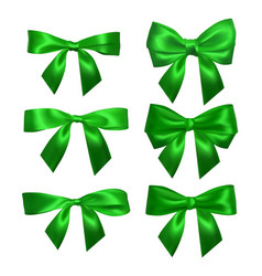realistic green bow isolated on white element for vector image