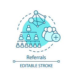 Referrals turquoise concept icon network vector