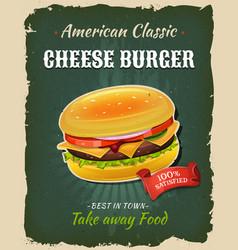 Retro fast food cheeseburger poster vector