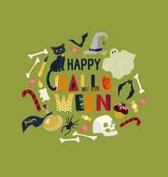 round holiday composition with happy halloween vector image