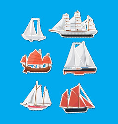 Sea sailboats side view isolated labels set vector