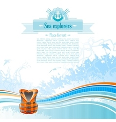 Sea travel background design for yacht club with vector image