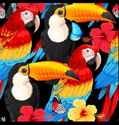 Seamless pattern macaws and toucans vector