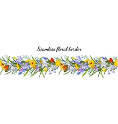 seamless spring flower border isolated on white vector image