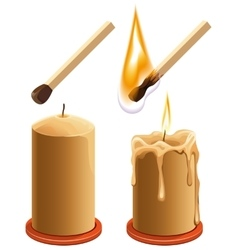 Set match and candle New and burns vector image