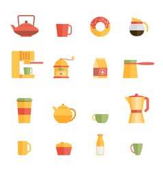 Set of flat cafe design elements vector
