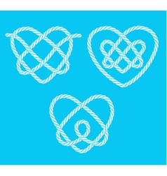 Set of rope hearts decorative knots vector image