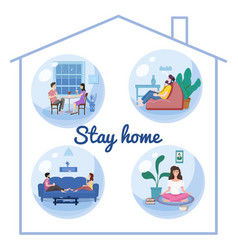 Set stay home quarantine consent banners self vector