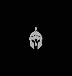sparta spartan helmet with businessman logo design vector image