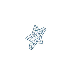 starfish isometric icon 3d line art technical vector image