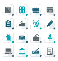 Stylized business office and finance icons vector