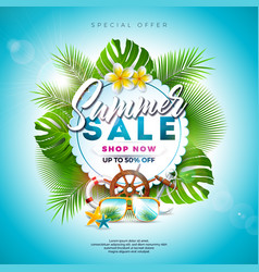 Summer sale design with flower beach holiday vector