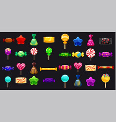 supe set of different sweets on black background vector image
