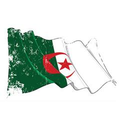 Textured grunge waving flag algeria vector