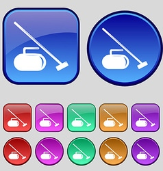 The stone for curling icon sign A set of twelve vector image vector image