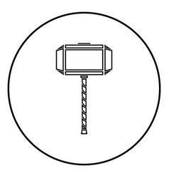 Thors hammer mjolnir icon outline black color in vector