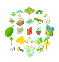 tourist icons set cartoon style vector image