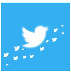 Twitter bird glowing banner template vector