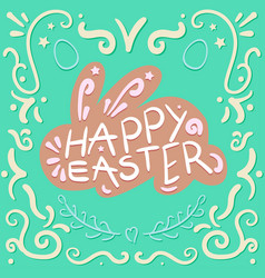 Vintage happy easter lettering vector