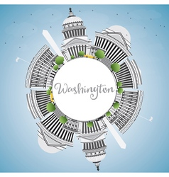 Washington dc skyline with gray buildings vector