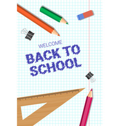 Welcome back to school poster colorful pencils vector