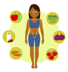 woman over healthy fruits and vegetables vector image
