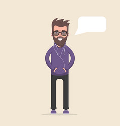 a man stands and listens to music on headphones vector image
