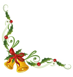 Christmas holly bells vector image vector image