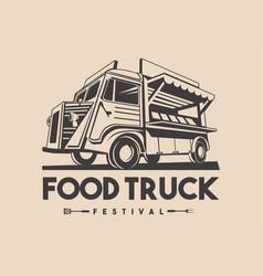 food truck restaurant delivery service logo vector image vector image