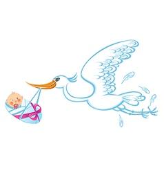 Happy stork vector image