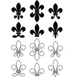 set of royal heraldic lily vector image vector image