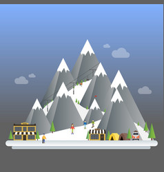 Ski resort modern cartoon concept mountain vector