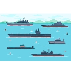 Warship set in flat style vector image vector image