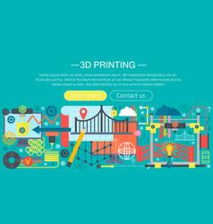3d printer technology flat concept set 3d vector image