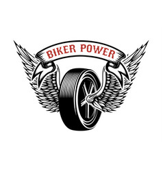 biker power emblem with winged wheel design vector image