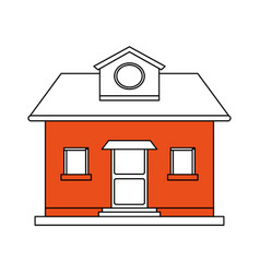 Color silhouette cartoon orange facade comfortable vector