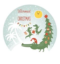 cute african crocodiles greeting card vector image vector image