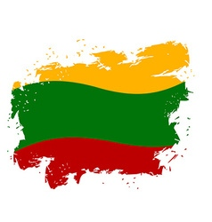 Lithuania flag grunge style on white background vector image