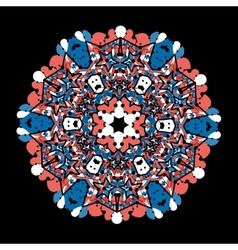 Ornate round mandala lace on black background vector image