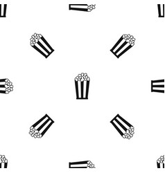 popcorn in striped bucket pattern seamless black vector image vector image