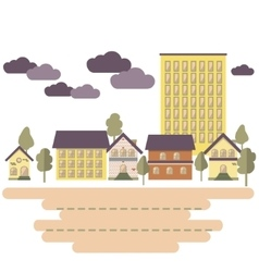 Day in city Buildings and trees Flat style vector image