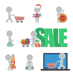 Flat people sale vector image vector image