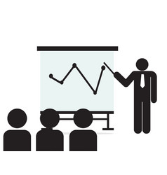 man and group meeting with board isolated symbol vector image