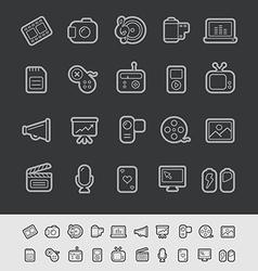 Multimedia Black Line vector image vector image