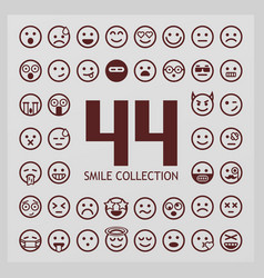 outline smiles collection 44 emoji vector image