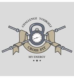 Training on time Fitness emblem vector image vector image
