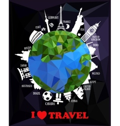 Travel background with earth and landmarks vector image vector image
